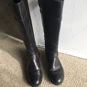 Aldo black leather knee high boots size 8 38